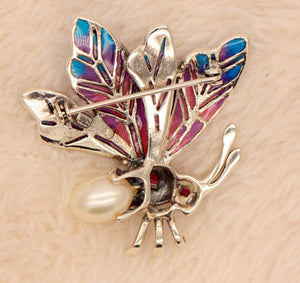 Handmade 925 Sterling Silver Cold Enamelled Ruby Pearl Marcasite Bug Brooch Butterfly