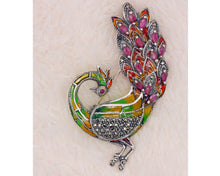 Load image into Gallery viewer, Handmade Sterling Silver Enamelled Ruby Marcasite Brooch Peacock Pendant BR60