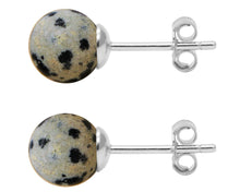 Load image into Gallery viewer, BJC® Stunning Ladies Sterling Silver Dalmatian Jasper Ball Stud Earrings Brand New