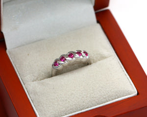 Sterling Silver 925 Ruby Round Brilliant Cut Eternity Ring Size I i