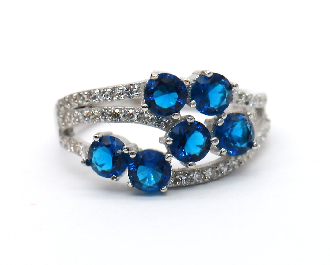 Sterling Silver 925 Sapphire & CZ Round Brilliant Cocktail Ring Size M
