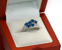 Load image into Gallery viewer, Sterling Silver 925 Sapphire & CZ Round Brilliant Cocktail Ring Size M
