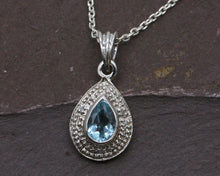 Load image into Gallery viewer, BJC® Sterling Silver Blue Topaz & Diamond Pendant & Optional Silver Necklace SP1