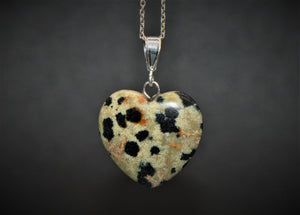 Sterling Silver Natural Dalmatian Jasper 20mm Love Heart Pendant & Necklace