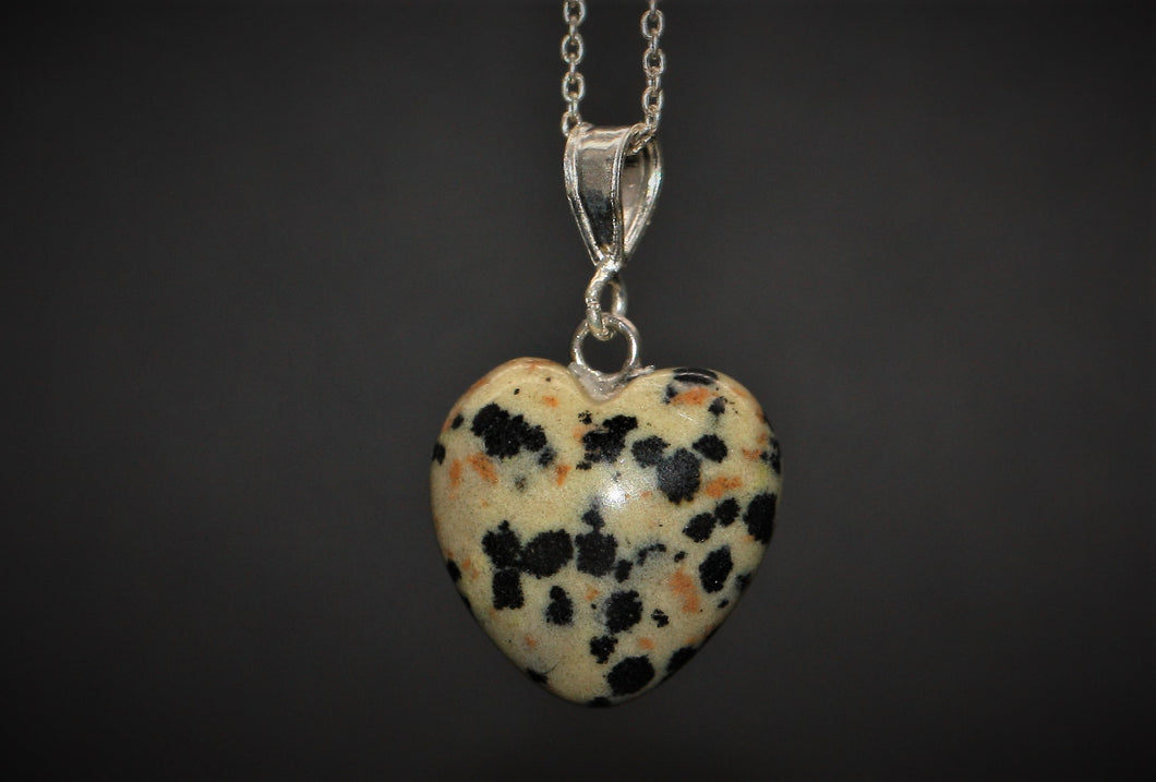 Sterling Silver Natural Dalmatian Jasper 16mm Love Heart Pendant & Necklace