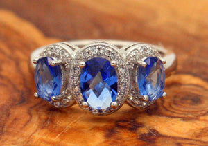 Sterling Silver 925 Sapphire & CZ Round Brilliant Trilogy Ring Size L