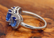 Load image into Gallery viewer, Sterling Silver 925 Sapphire & CZ Round Brilliant Trilogy Ring Size L