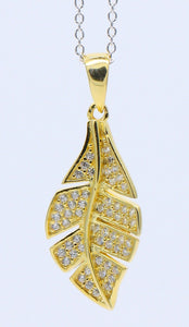 BJC® Sterling Silver & Yellow Gold Leaf Pendant & Sterling Silver Trace Necklace - SP5