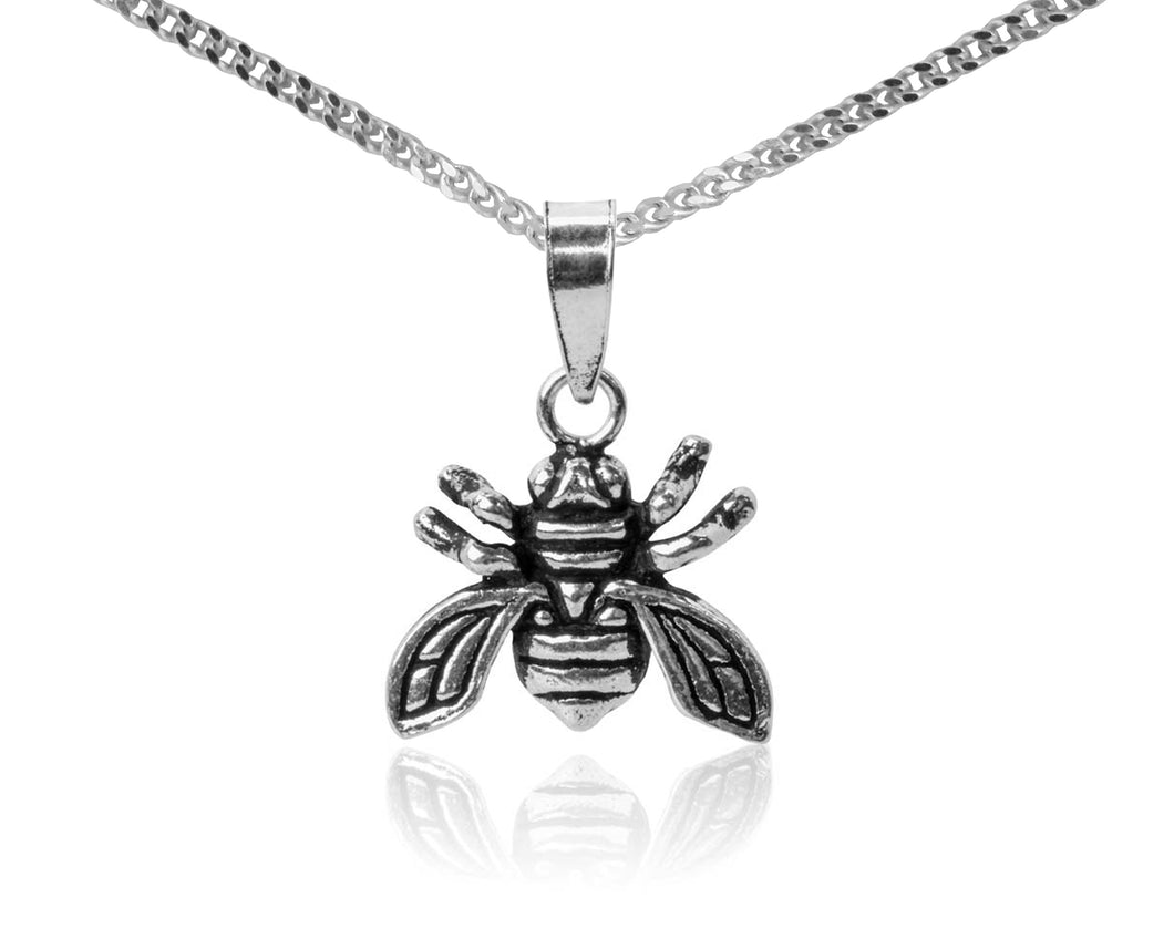 BJC® Sterling Silver Small Honey Bee Pendant & Optional Silver Necklace