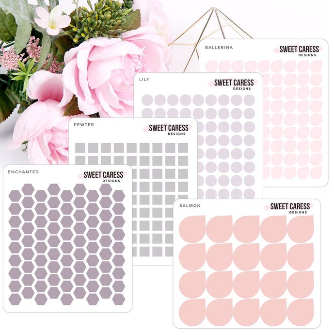 Transparent Single Color Shapes - Pinks & Gray