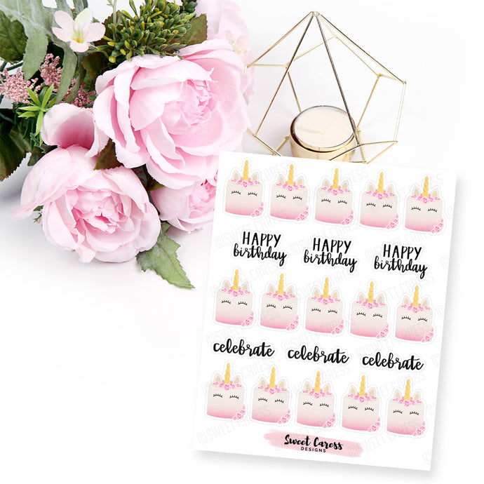 Unicorn Birthday Cake Stickers - Mini Sheet
