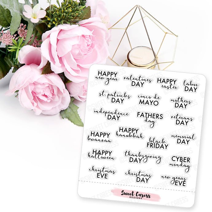 Holiday Calendar Script Planner Stickers