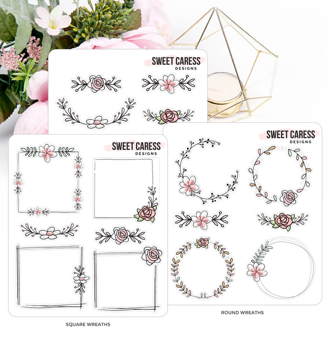 Floral Wreaths - Planner Stickers