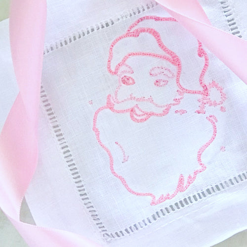 Pink Santa Linen Hemstitched Cocktail Napkins