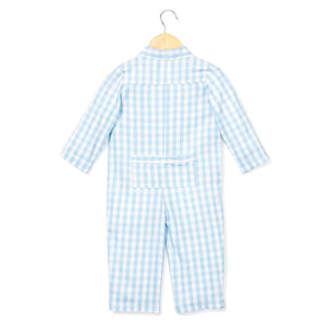 Light Blue Gingham Sleepsuit
