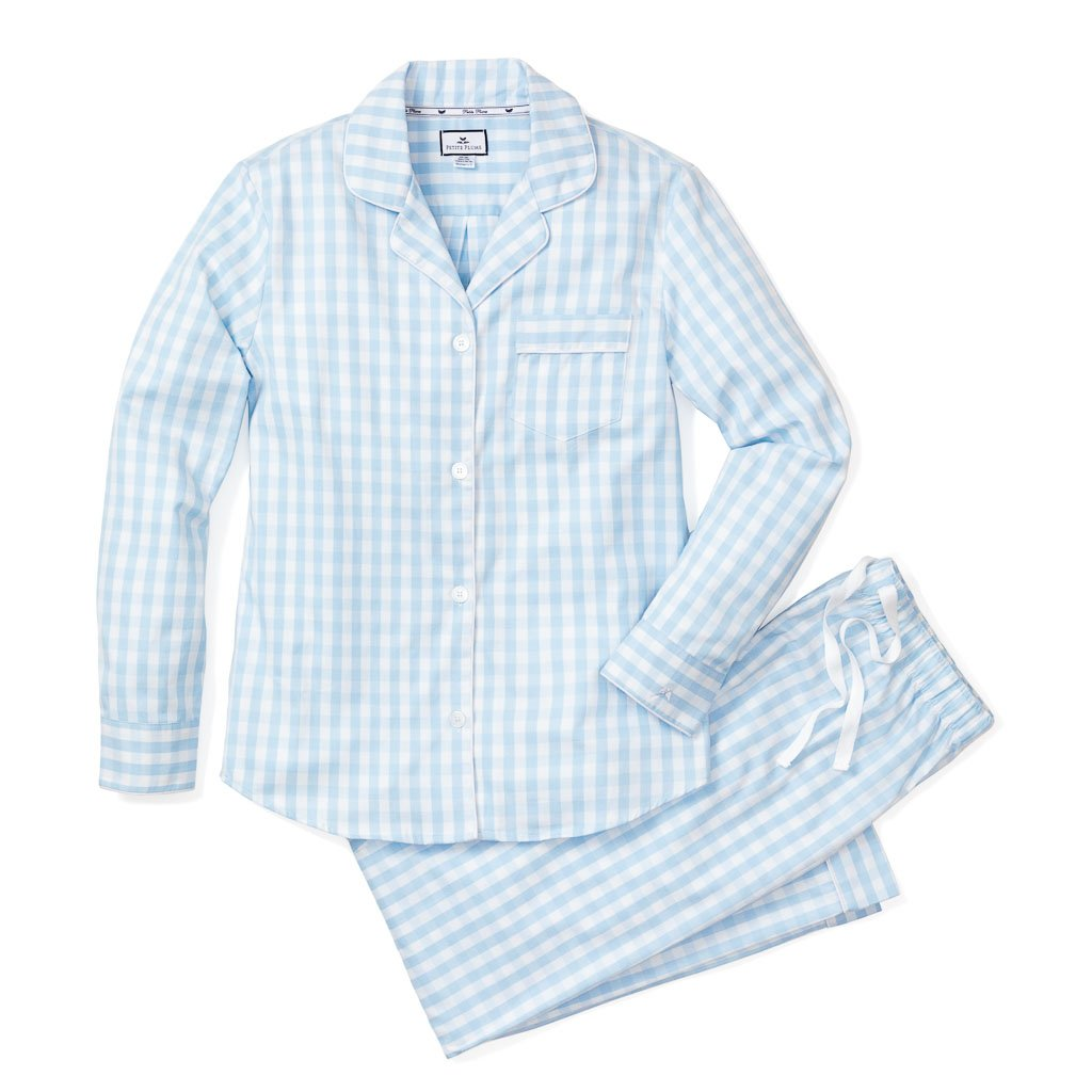 Women's Light Blue Gingham Pajama Set