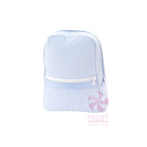 Light Blue Seersucker Small Backpack