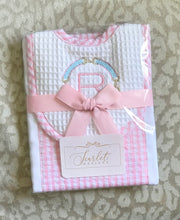 Load image into Gallery viewer, Pink Gingham Bib & Burp Cloth Set