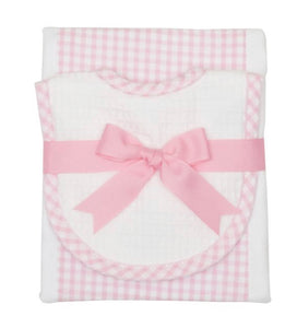 Pink Gingham Bib & Burp Cloth Set