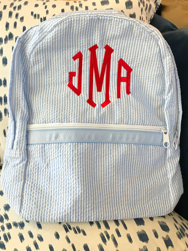 Light Blue Seersucker Medium Backpack