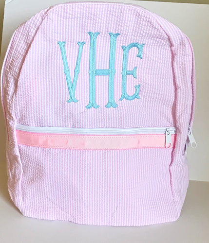 Light Pink Seersucker Medium Backpack