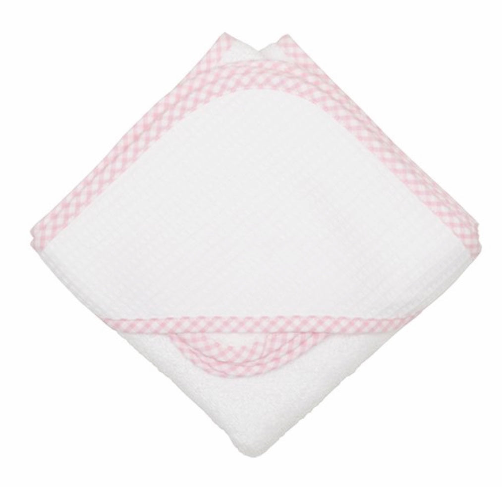Pink Gingham Baby Pique Hooded Towel Set