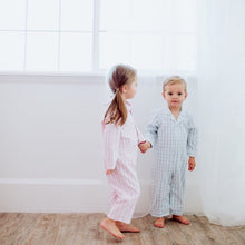 Load image into Gallery viewer, Light Blue Gingham Sleepsuit