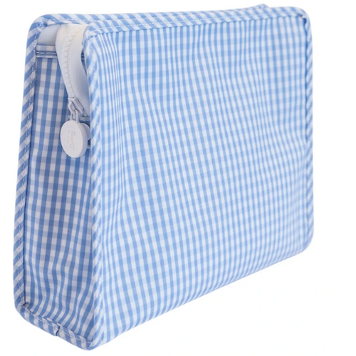 Light Blue Large Gingham Roadie Travel Case