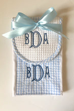 Load image into Gallery viewer, Blue Gingham Bib & Burp Cloth Set