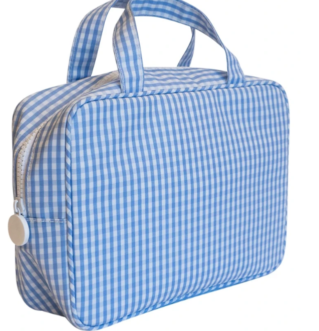 Light Blue Gingham Carry On Toiletry Case