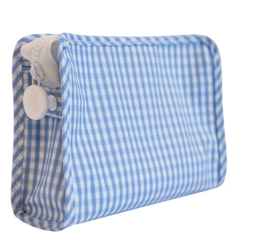 Light Blue Small Gingham Roadie Travel Case
