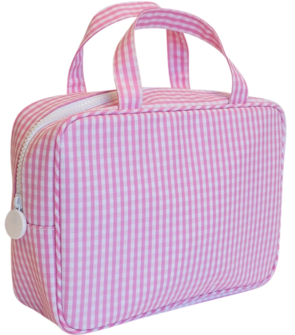 Pink Gingham Carry On Toiletry Case