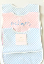 Load image into Gallery viewer, Pink Gingham Laminated Bib