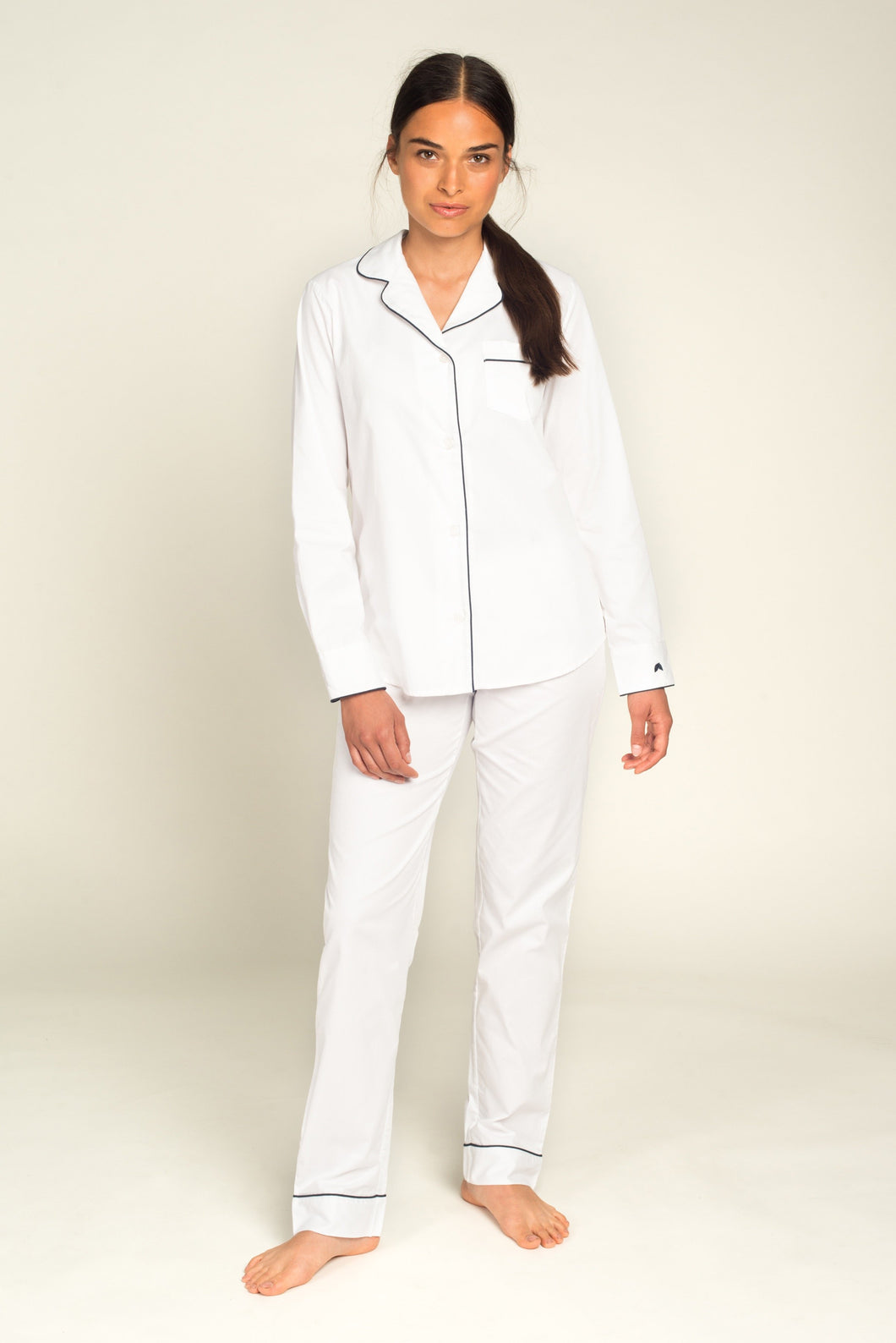 Women's Classic White Pajamas with Navy Piping