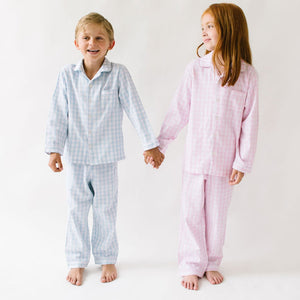 Light Blue Gingham Pajama Set