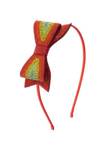 Red Rainbow Rhinestone Bow Headband