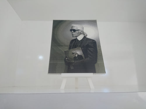 Tableau portrait photo 3D relief Karl Lagerfeld imprimé en 3D