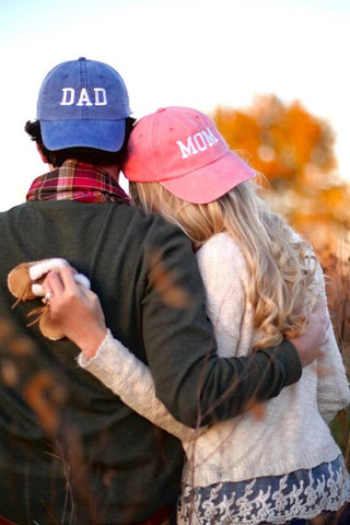 Mom & Dad Unstructured Dad Hat Gift or Baby Announcement Coral Royal and White or Your Color Choice | CityCaps.Co
