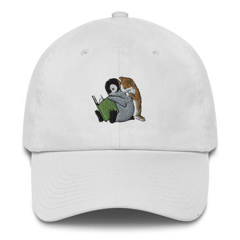 Sheba Drawing Penguin & Cat Dad Hat | CityCaps.Co