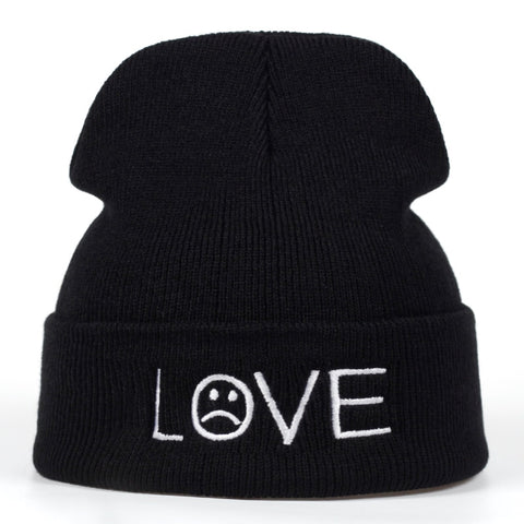Love Sad Face Beanie | CityCaps.Co