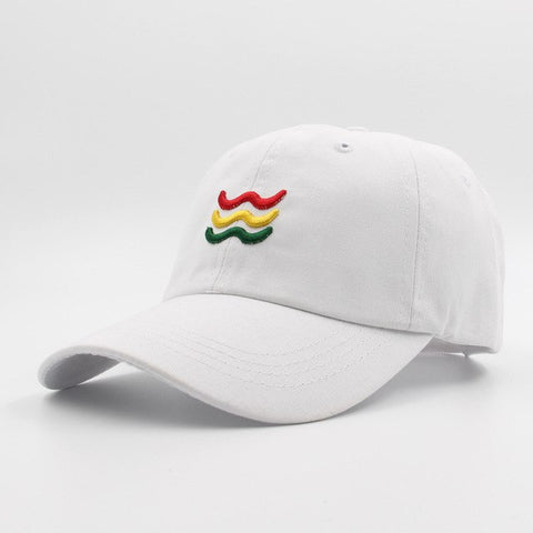 Red Yellow and Green Wave Dad Hat | CityCaps.Co