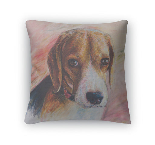 Throw Pillow, Painting Of Beagle Portrait On Canvas - emeralds-gift-palace