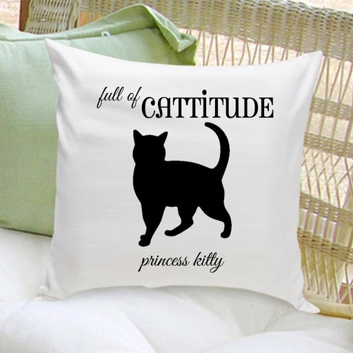 Cat Silhouette Throw Pillow - Script - emeralds-gift-palace