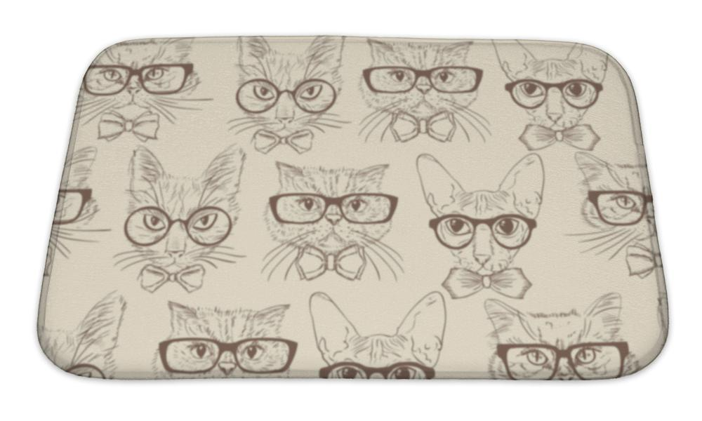 Bath Mat, Cat Hipsters Pattern - emeralds-gift-palace