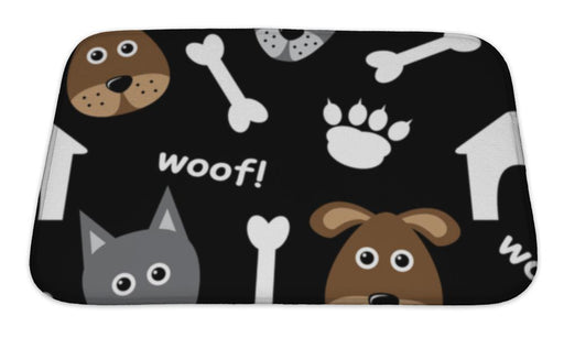 Bath Mat, Cartoon Pattern With Dogs - emeralds-gift-palace