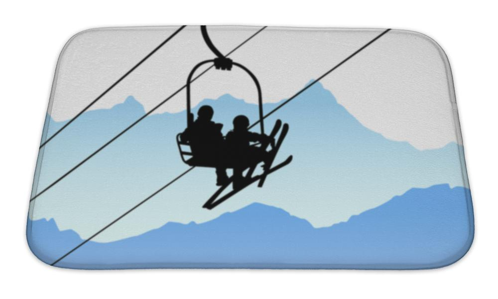 Bath Mat, Design Of Two People In Ski Lift - emeralds-gift-palace