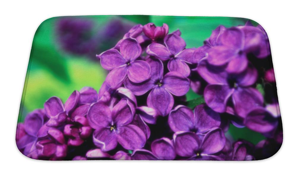 Bath Mat, Central Park Blooming Lilac Flowers Spring Floral Selective - emeralds-gift-palace