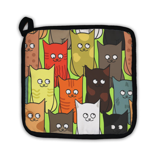 Potholder, Pattern With Funny Cats Color - emeralds-gift-palace