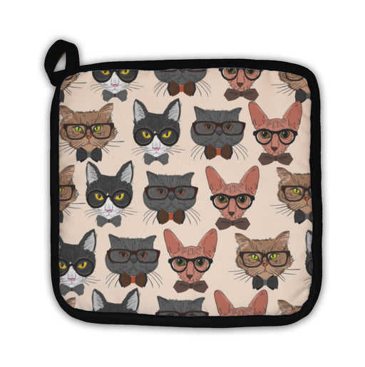 Potholder, Hipster Cats Pattern - emeralds-gift-palace