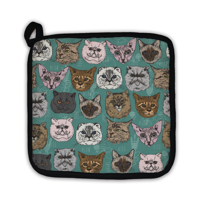 Potholder, Pattern With Cats Siamese British Siberian Persian Scottish Fold Maine Coon - emeralds-gift-palace
